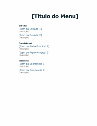 Menu de eventos formais