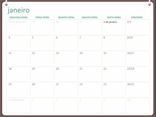 Calendário de parede clássico (segunda-feira a domingo, design de dois anéis)