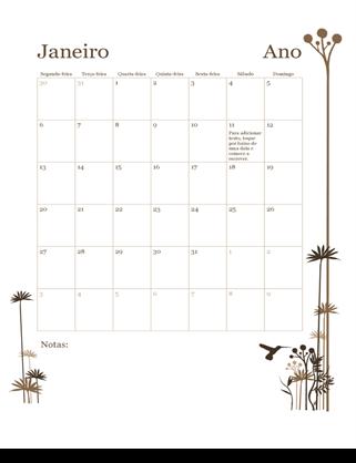 Calendário de 12 Meses (Segunda-feira a Domingo)