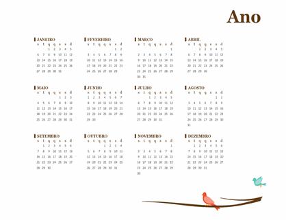 Calendário anual de pássaros (segunda-feira a domingo)