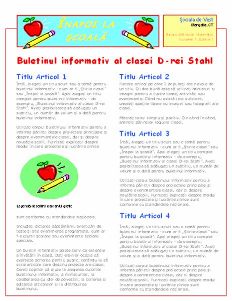 Buletin informativ al clasei (2 col., 2 pag.)