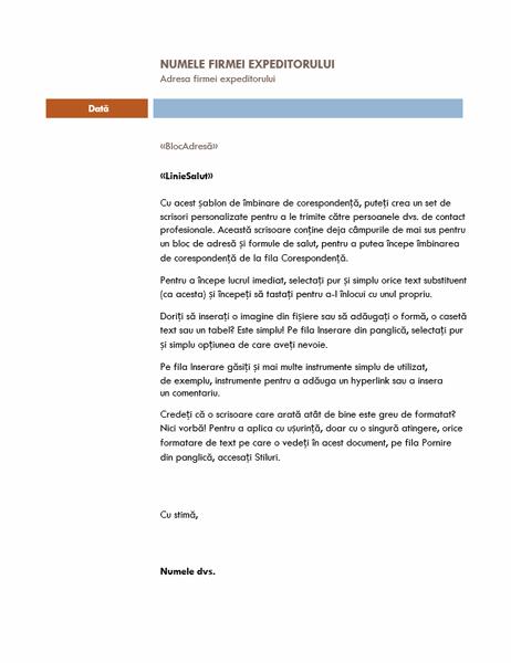 Scrisoare de îmbinare corespondență (temă Median)