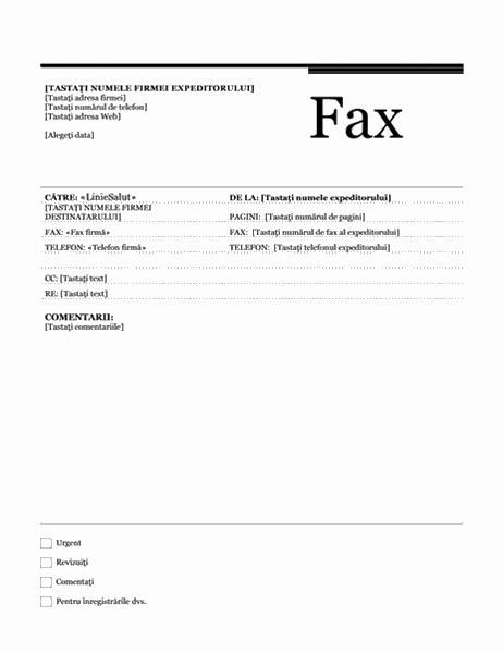 Fax pentru îmbinarea corespondenței (tema Urban)