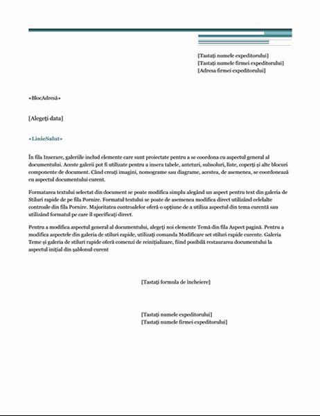 Scrisoare pentru îmbinarea corespondenței (tema Urban)