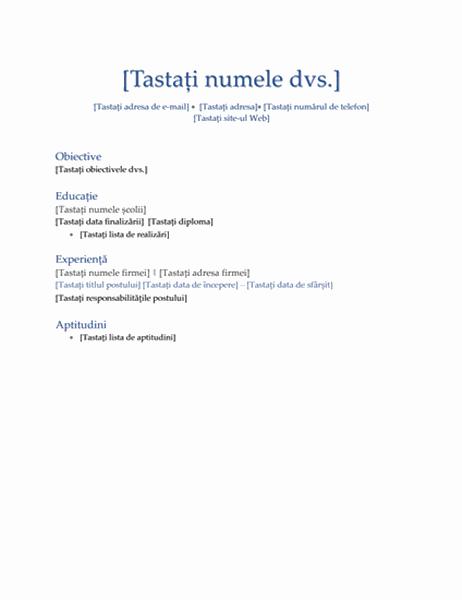 CV (tema Executiv)