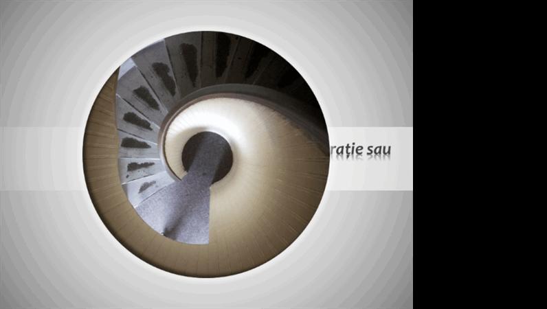Imagine animată ce se mișcă circular și se restrânge împreună cu titlul