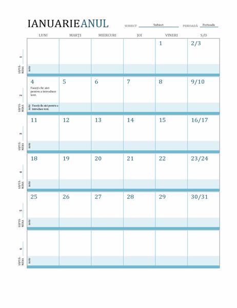 Calendar pentru planurile de lecție