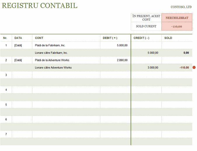 Registrul contabil T