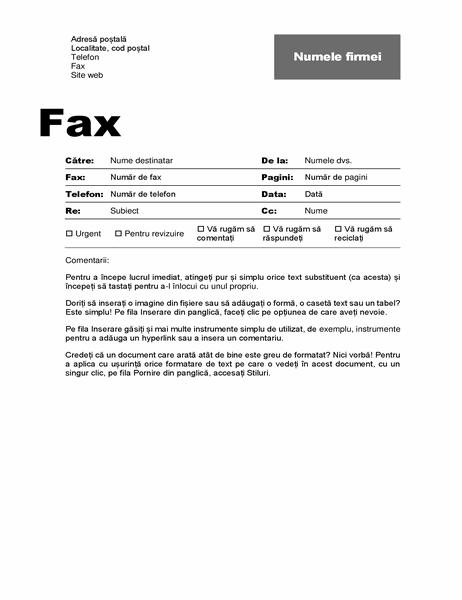Pagină de însoțire fax (proiectare profesională)