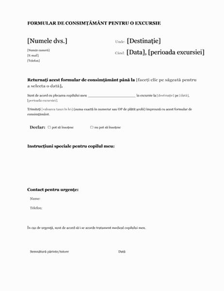 Formular de consimțământ pentru o excursie (elevi de gimnaziu)