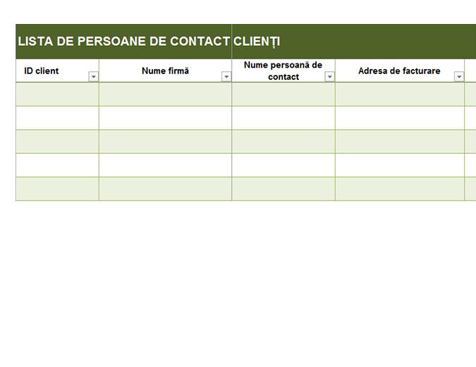 Listă de persoane de contact clienți de bază