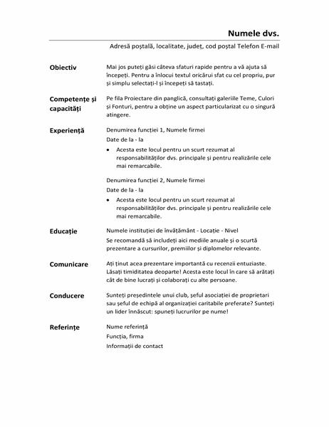 CV funcțional (proiect minimalist)