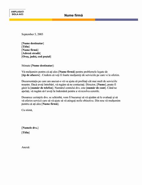 Șablon de scrisoare (tema Nivel)