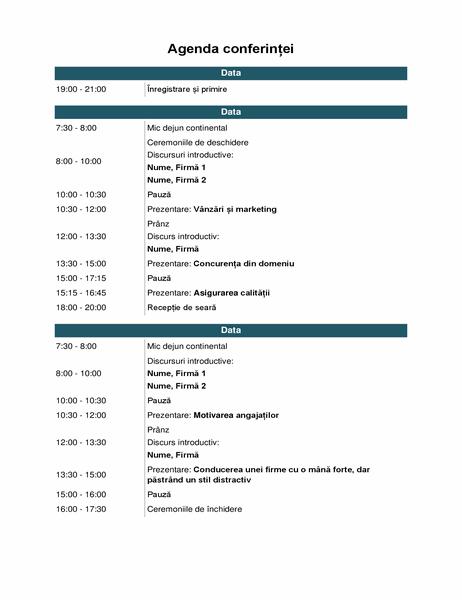 Agenda unui eveniment de la o conferință
