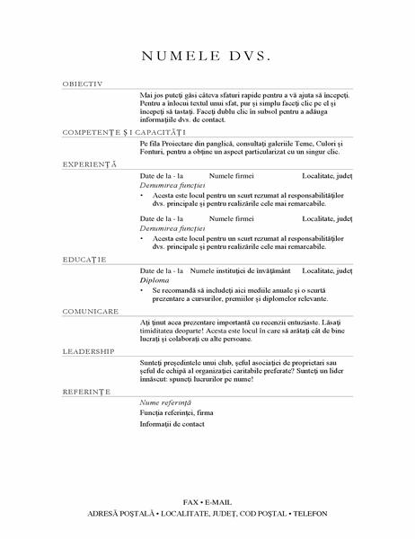CV pentru manager de vânzări (elegant)