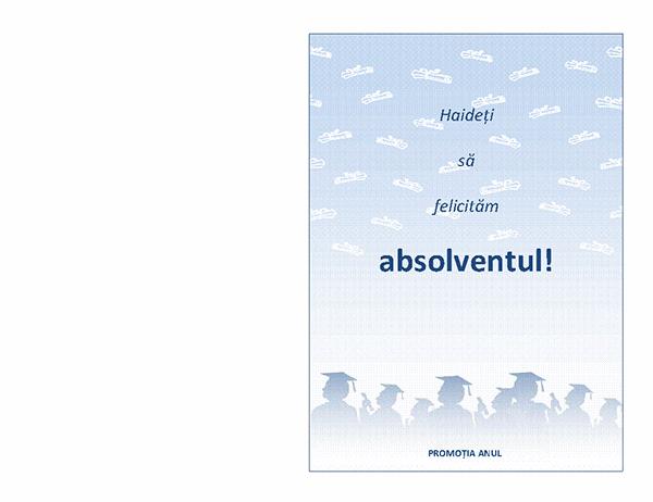 Invitație la petrecerea de absolvire (proiectare Petrecere de absolvire, pliată pe jumătate)