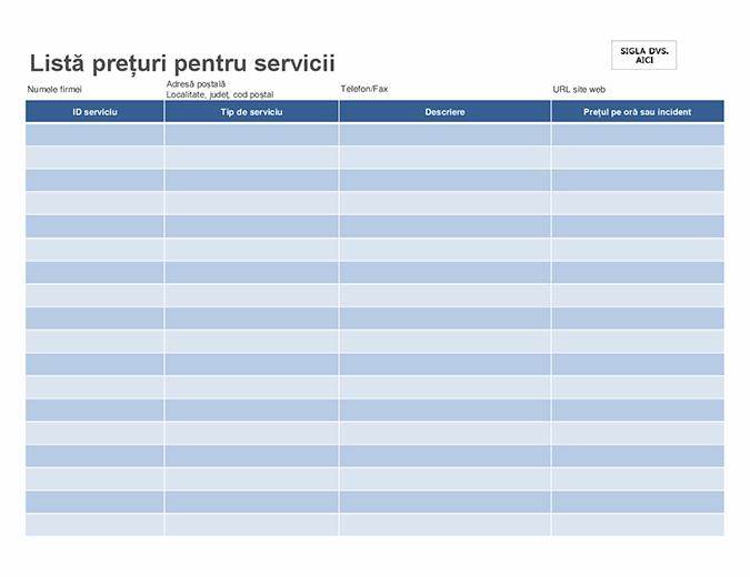Lista de prețuri pentru servicii