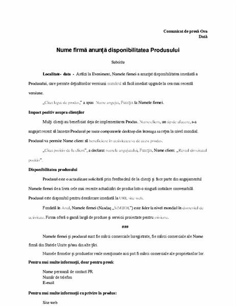Comunicat de presă cu anunț de produs