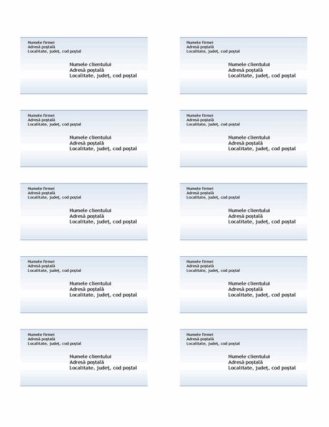 Etichete de livrare (proiectare Gradient albastru, 10 pe pagină)