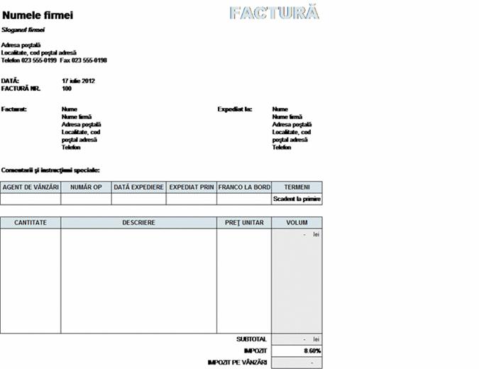 Factură de vânzări cu calcularea taxei pe expediere și depozitare
