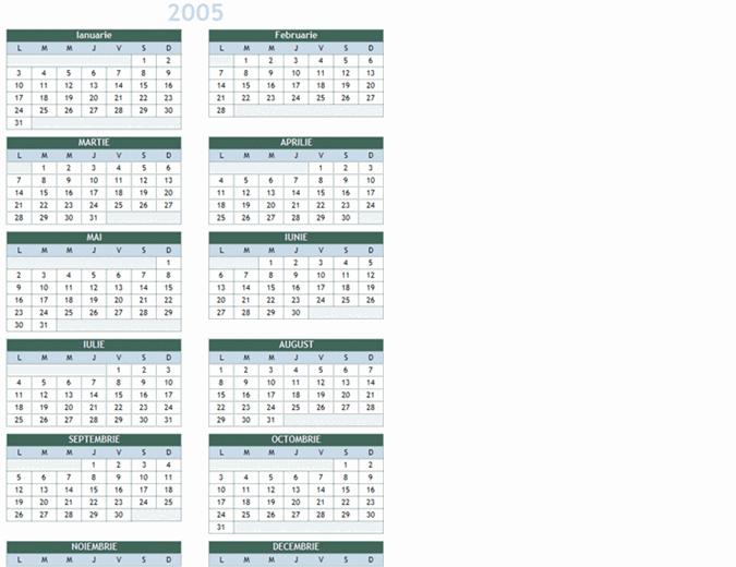 Calendar anual 2005-2014 (Luni-Duminică)