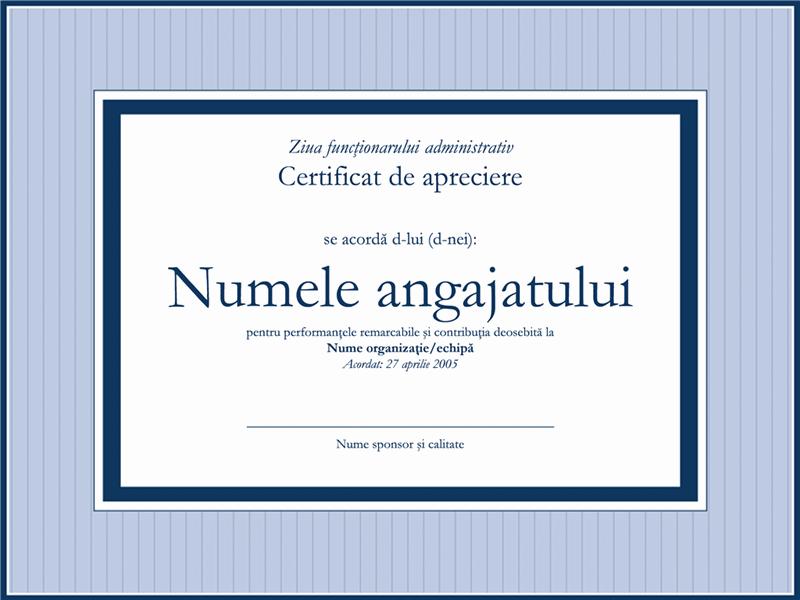 Certificat de apreciere pentru funcționari administrativi
