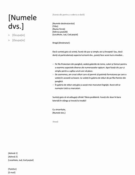 Scrisoare de intenție pentru CV cronologic (proiect simplu)