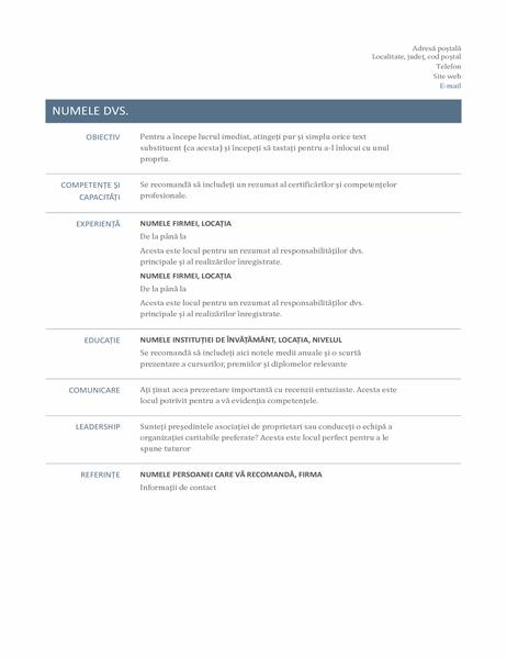 CV simplu (model atemporal)