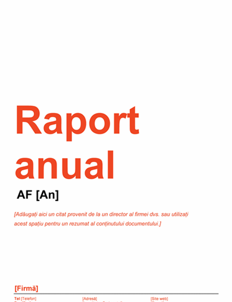 Raport anual (proiect roșu și negru)
