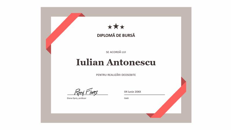 Certificat de bursă (bordura albastră formală)