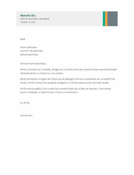 Scrisoare de afaceri (proiectare Comercial în dungi)
