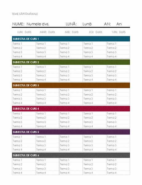 Calendarul temelor săptămânale