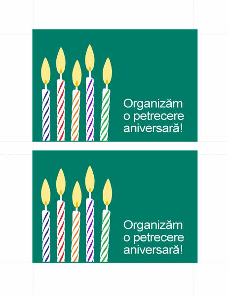 Cărți poștale pentru invitații la zile de naștere (2 pe pagină)