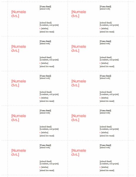 Cărți de vizită (proiect roșu, 10 pe pagină)