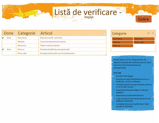 Listă de verificare - bagaje pentru vacanță