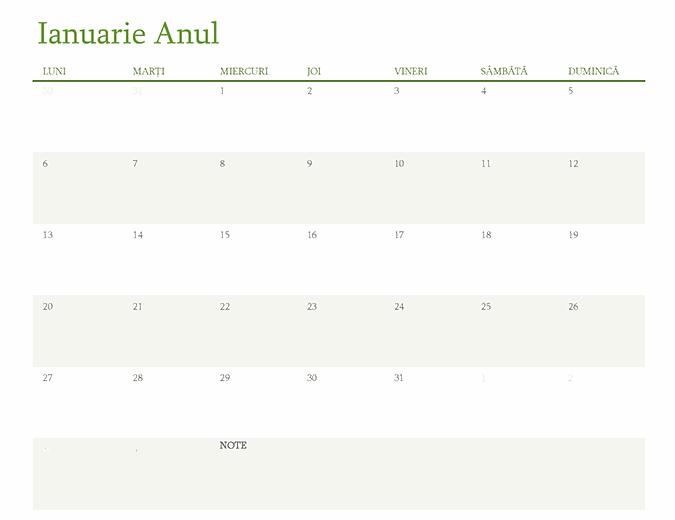 Calendar pentru orice an (1 lună per filă)