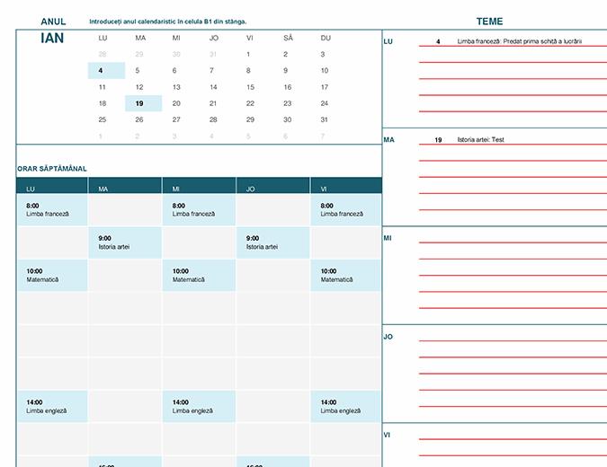 Calendar pentru elevi (Lun)