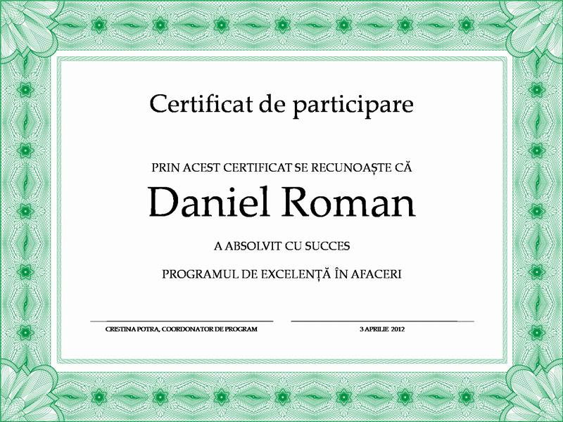 Certificat de absolvire (verde)