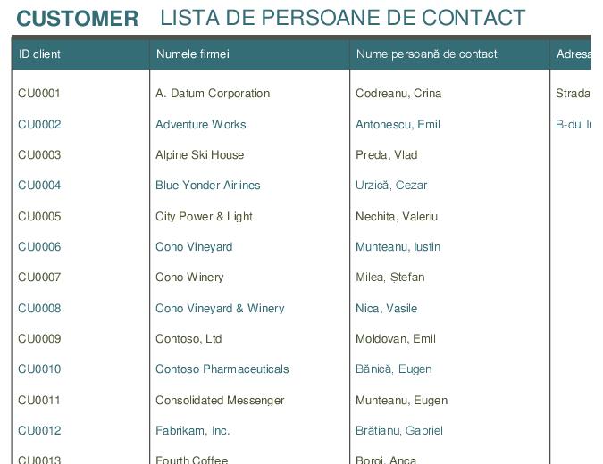 Listă de persoane de contact