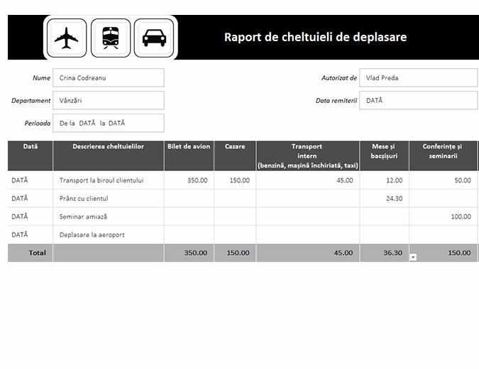 Raport de cheltuieli de deplasare
