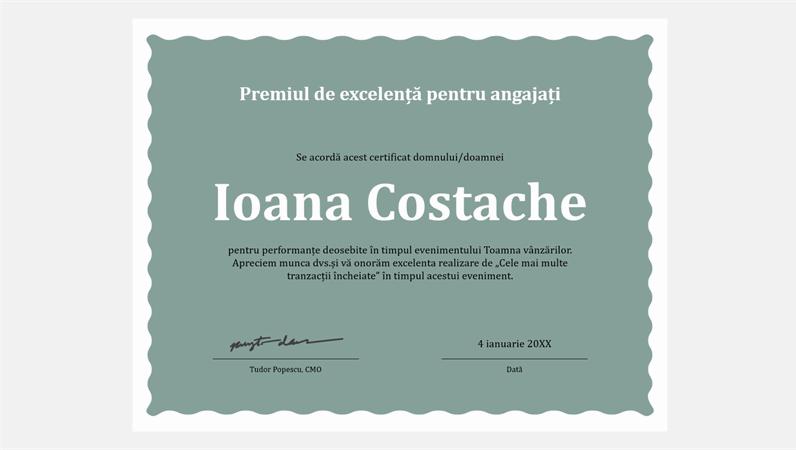Diplomă de excelență pentru angajați