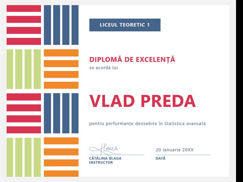 Diplomă de excelență pentru elevi