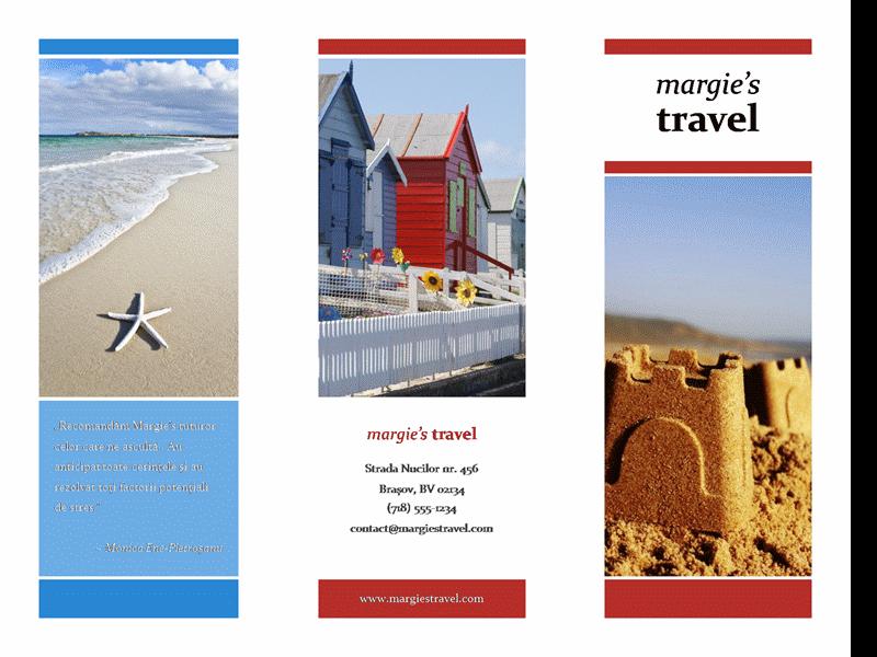 Broșură de călătorie împăturită în trei (model roșu, auriu, albastru)