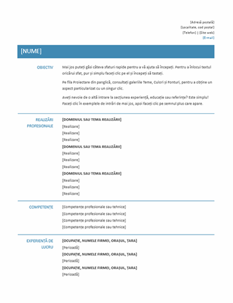 CV funcțional (proiect simplu)