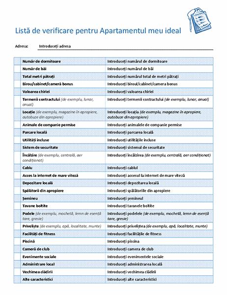 Listă de verificare pentru selectarea apartamentului ideal