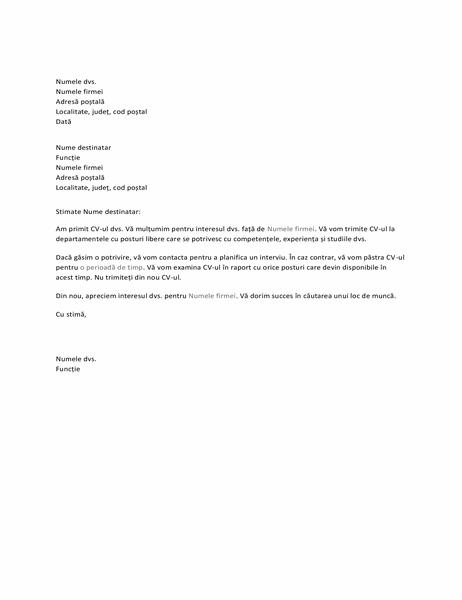Confirmare de primire pentru solicitantul unui loc de muncă