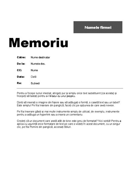 Memo inter-servicii (proiectare Profesional)