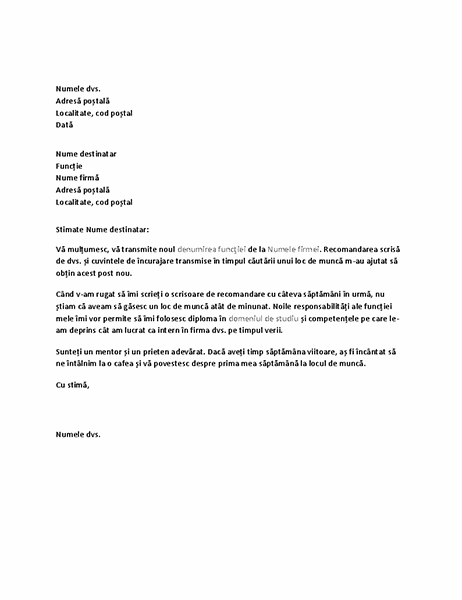 Scrisoare de mulțumire pentru recomandarea excelentă din partea fostului angajator.