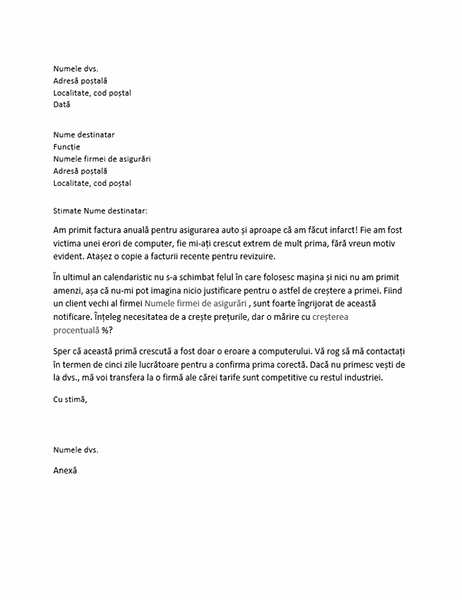 Scrisoare de reclamație privind creșterea primei de asigurare
