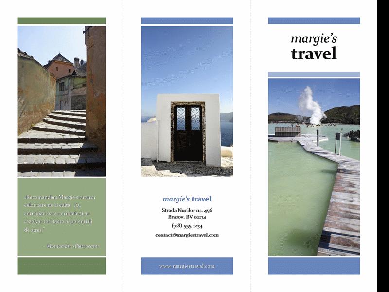 Broșură turistică pe trei coloane (proiectare în albastru și verde)